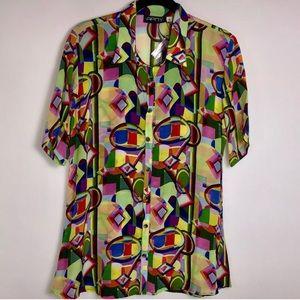 APNY Multicolor Short Sleeve Button Up Blouse